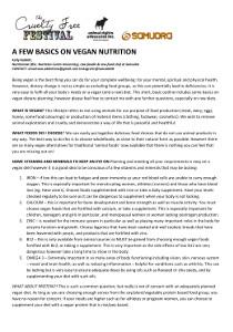 Image: A Few Basics on Vegan Nutrition